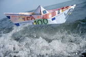 Paper boat Euro-money — Stock Photo
