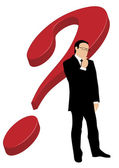 Businessman in front of question mark — Stock Photo