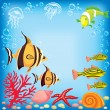 Colored fish under water — Stock Vector