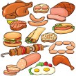 Meat products icon set — Stockvectorbeeld