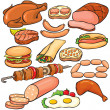 Meat products icon set — Stockvektor