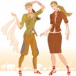 Vector de stock : Summer fashion models 2