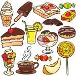 Tatlılar, tatlılar, içecekler Icon set — Stok Vektör