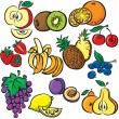 Vector fruits icon set — Stock Vector