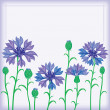 Flower border of cornflowers — Stock Vector