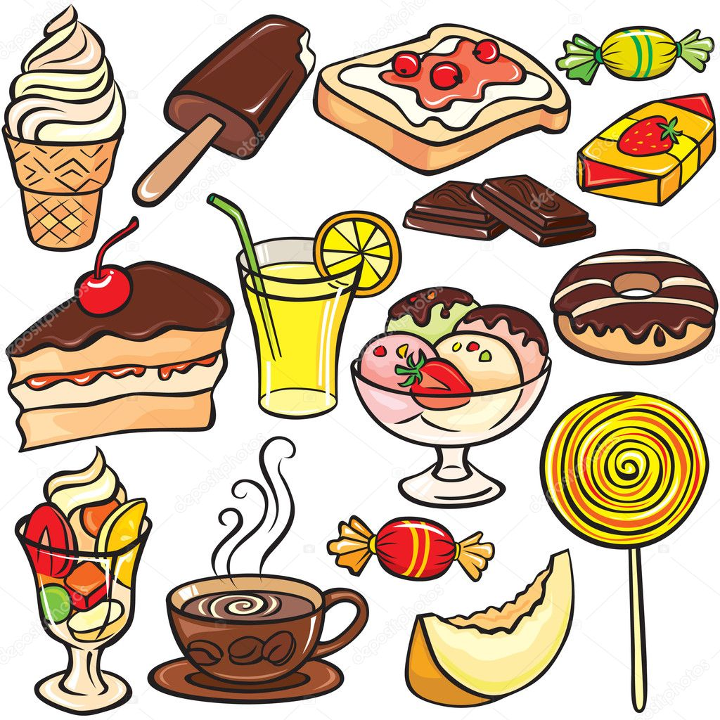 Desserts, sweets, drinks icon set — Stock Vector ...