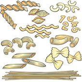 Fideos, espaguetis, conjunto de iconos de pasta — Vector de stock