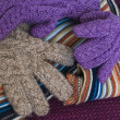 Knitten women gloves — Stock Photo