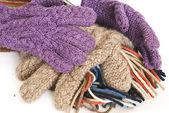 Gants tricotés violets — Photo