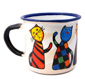 Mug with painted cats isolated — Stock Photo