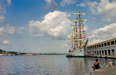 Sailing ship in the port — Stock Photo