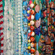 Colored beads showcase — Stock Photo