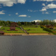Village over the river panorama — Stock Photo