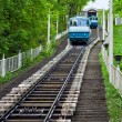 Funicular train rides up to the hill — Stock Photo