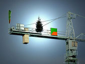 Christmas tree on crane — Stock Photo