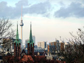 Berlin-TV Tower and Rotes Rathaus-bar — Stock Photo