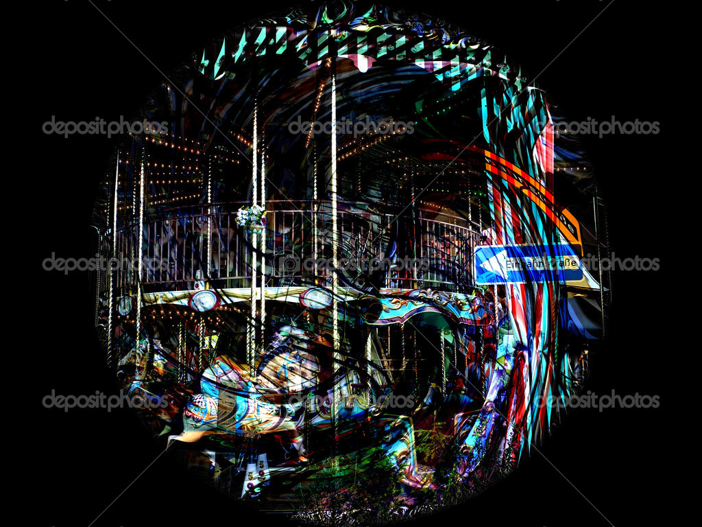 Composition: carousel on a black background;camera: Panasonic Lumix DMC-TZ7 — Stock Photo #3351887