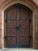 Christuskirche-door brown — Stock Photo