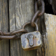 Lock on chain - Stock Photo