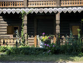 Alexandrowka-log cabin-loggia — Stock Photo