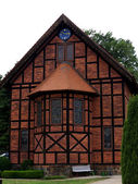 Half-timbered church Dippmannsdorf-frontal — Stock Photo