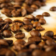 Coffee beans on old paper — Stock Photo