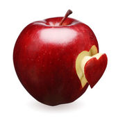 Red apple with heart — Stock Photo