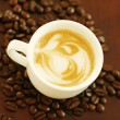 Top view of piccolo latte with a coffee — Stock Photo