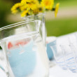 Jug of water and glasses on a table. — Stock Photo
