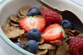 Bowl of breakfast cereal with fruit and — Stock Photo