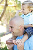 Close-up portrait of a father and son ou — Stock Photo