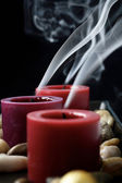 Extinguished candles in the dark. — Stock Photo
