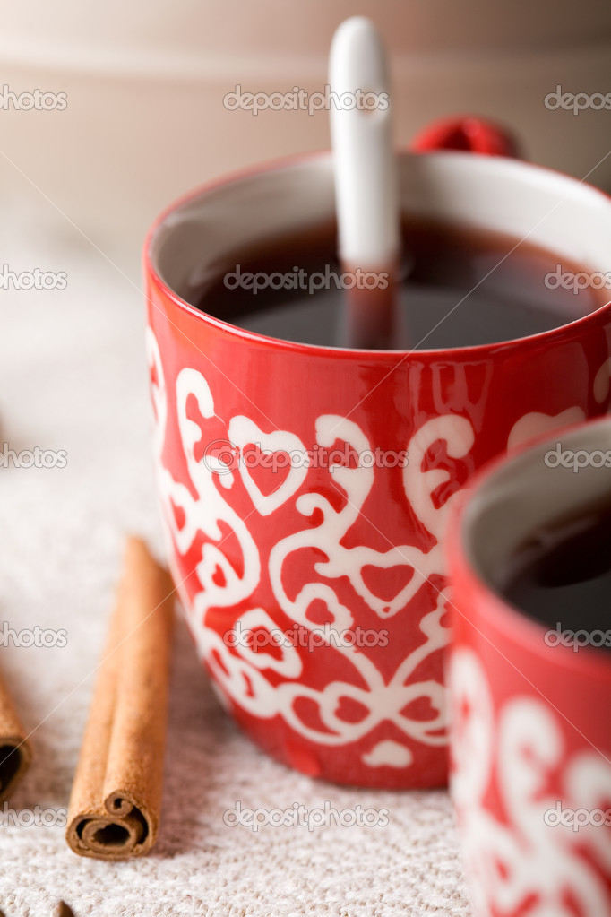 Hot aromatic Christmas drink, mulled red wine, Christmas glogg, with cinnamon sticks — Stock Photo #3155088