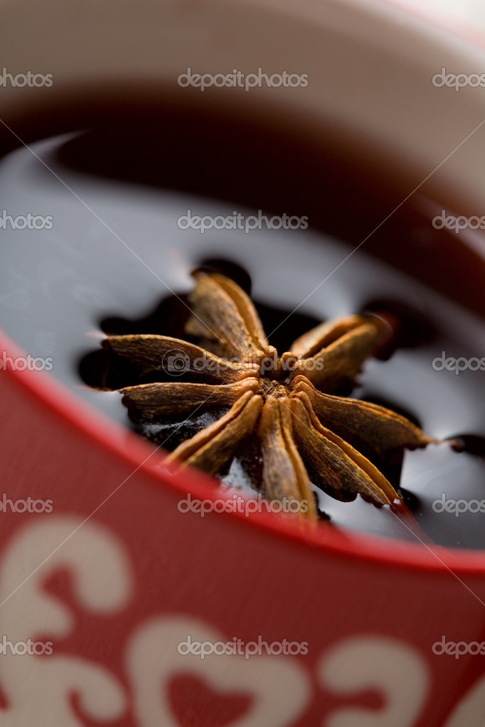 Delicious hot Christmas glogg, mulled red wine, with aniseed  Stock Photo #3155102