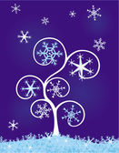 Tree with snowflakes — Stock Vector