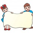 Children with poster — Stock Vector