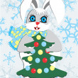 Royalty-Free Stock Vector Image: Rabbit and Christmas tree