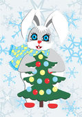 Rabbit and Christmas tree — Stock Vector