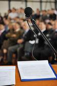 Mikrofon na jevišti — Stock fotografie
