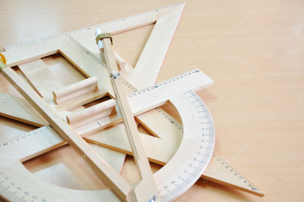 Drawing tools - triangle and protractors — Stock Photo #3135918