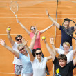 Happy family on the court - Stock Photo