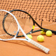 Stock Photo: Tennis rackets and balls