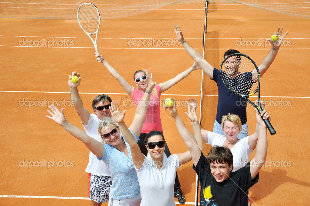 Happy family on the court — Stock Photo #3427616