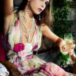 Champagne in garden — Stock Photo