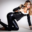 In black leather — Stock Photo