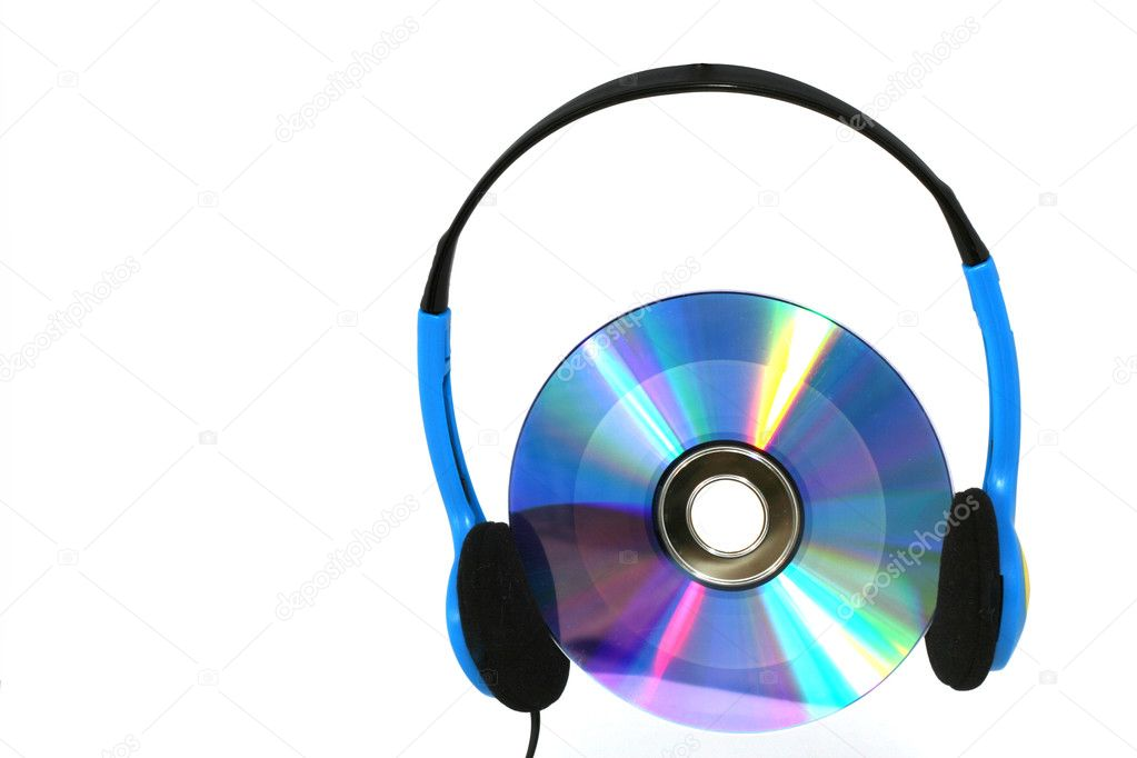 CD oder DVD mit Kopfhrer, soll cd hren symbolisieren.  Stock Photo #3096886