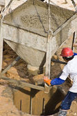 Construction worker pouring concrete (1) — Stock Photo