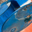 Blue and orange oil barrels (2) — Stock Photo