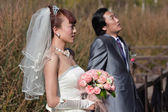 Bride and groom looking up (landscape) — Stockfoto