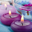 Purple toned candles and flowers (2) — Stock Photo